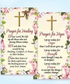 Prayer For Hope, Prayer for Healing, Catholic Prayer, card, Gold, Angel, Pin