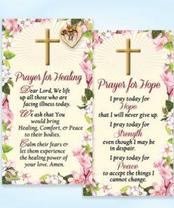 Prayer For Hope, Prayer for Healing, Catholic Prayer, card, Gold, Angel, Pin, Heart, Swarovski